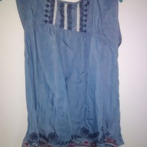 Embroidered button back denim tunic